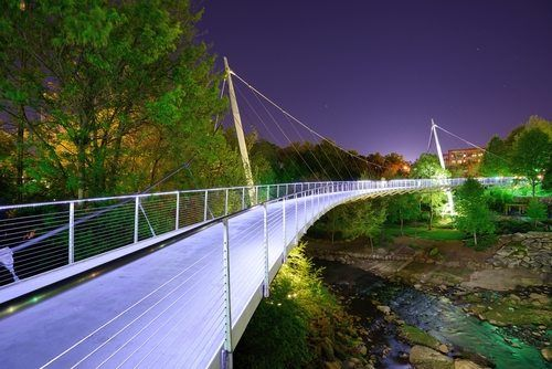 Liberty Bridge in Greenville, South Carolina, at night.