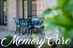 Waterstone on Augusta outdoor table, Memory Care title