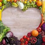 Fruits and Veggies Assembled to Create a Heart Shape